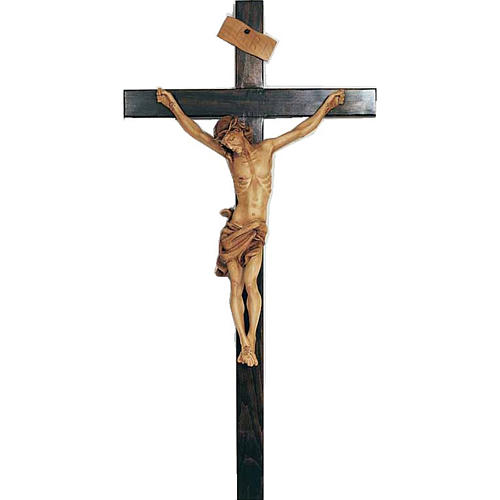 Crucifix in painted wood 55cm 1