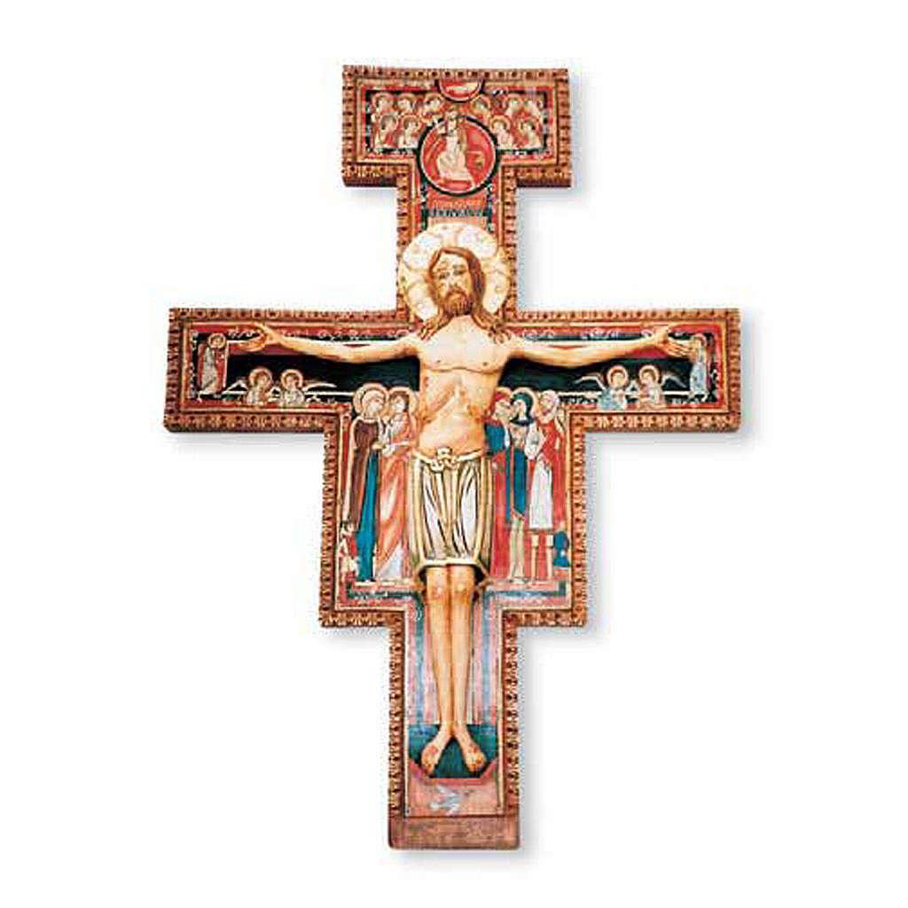 Crocifisso di San Damiano in legno dipinto 4