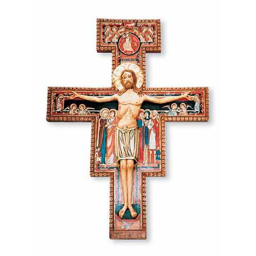 Crocifisso di San Damiano in legno dipinto 1
