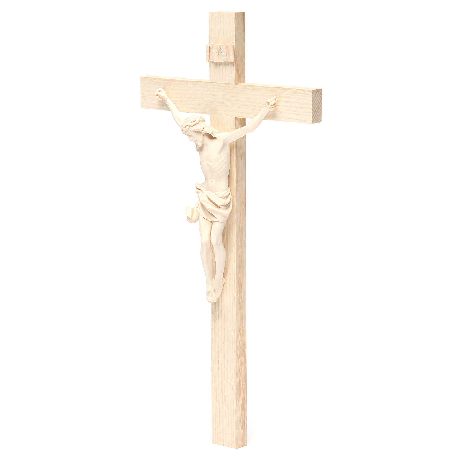 Crucifijo modelo Corpus, cruz recta madera Valgardena natural 4