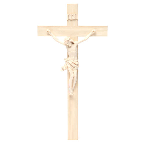 Crucifijo modelo Corpus, cruz recta madera Valgardena natural 1