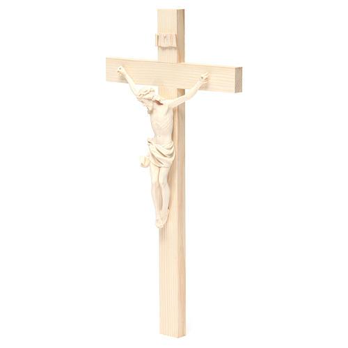 Crucifijo modelo Corpus, cruz recta madera Valgardena natural 2