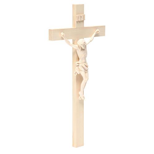 Crucifijo modelo Corpus, cruz recta madera Valgardena natural 3
