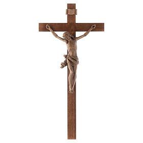 Crucifijo modelo Corpus, cruz recta madera Valgardena patinada s1