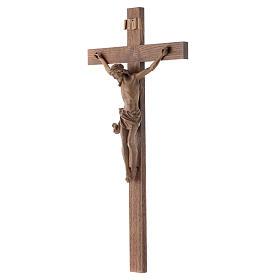 Crucifijo modelo Corpus, cruz recta madera Valgardena patinada s2