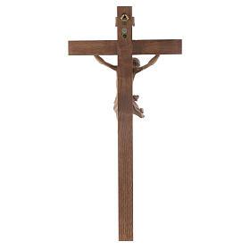 Crucifijo modelo Corpus, cruz recta madera Valgardena patinada s4