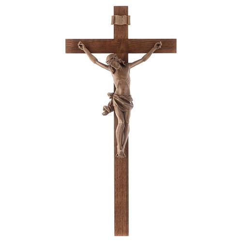 Crucifijo modelo Corpus, cruz recta madera Valgardena patinada 1