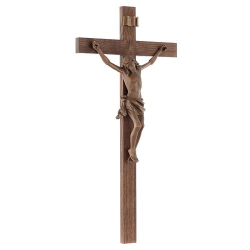 Crucifijo modelo Corpus, cruz recta madera Valgardena patinada 3