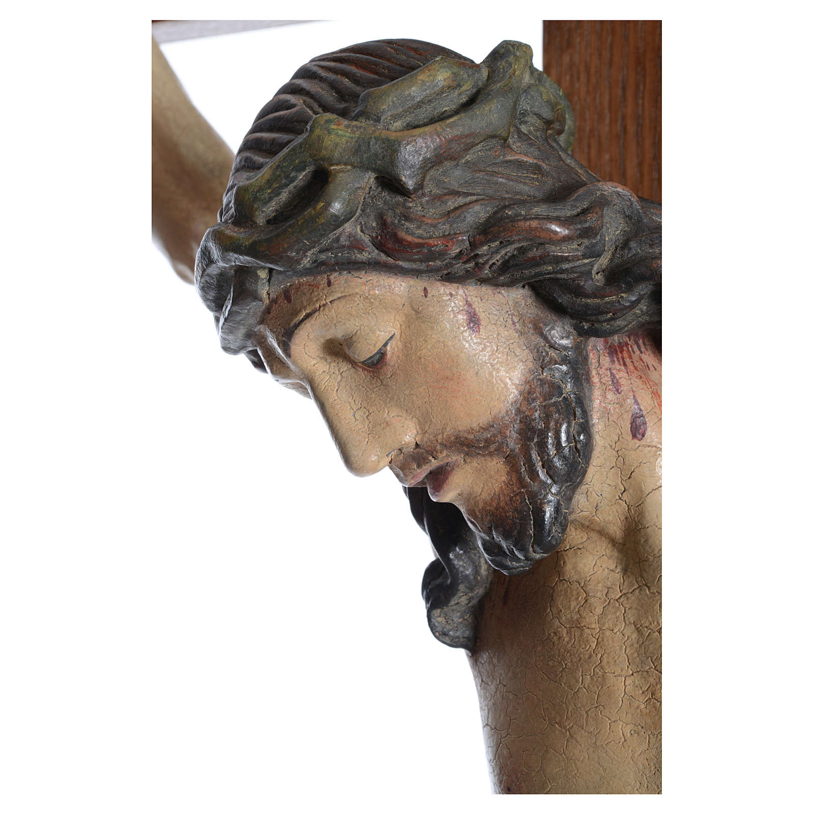 Crucifijo modelo Corpus, cruz recta madera Valgardena Antiguo do 4