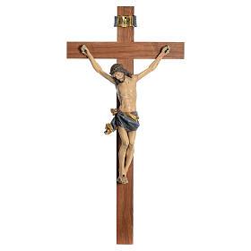 Crucifijo modelo Corpus, cruz recta madera Valgardena Antiguo do s1