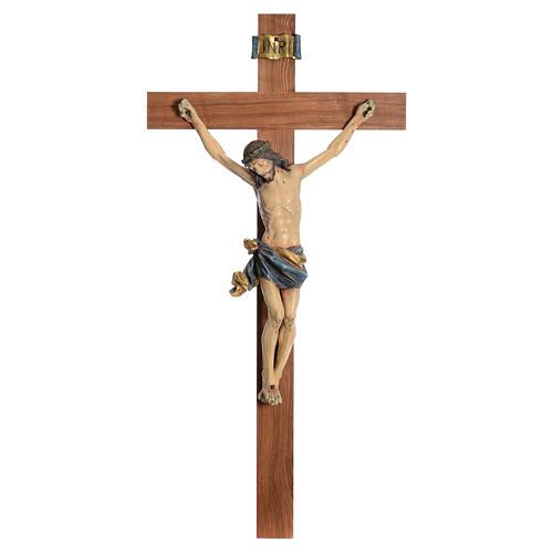 Crucifijo modelo Corpus, cruz recta madera Valgardena Antiguo do 1