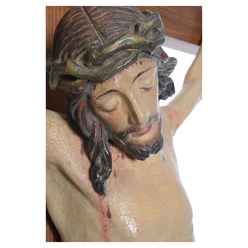 Krucyfiks mod. Corpus krzyż prosty drewno Valgardena Antyczne Złoto 2