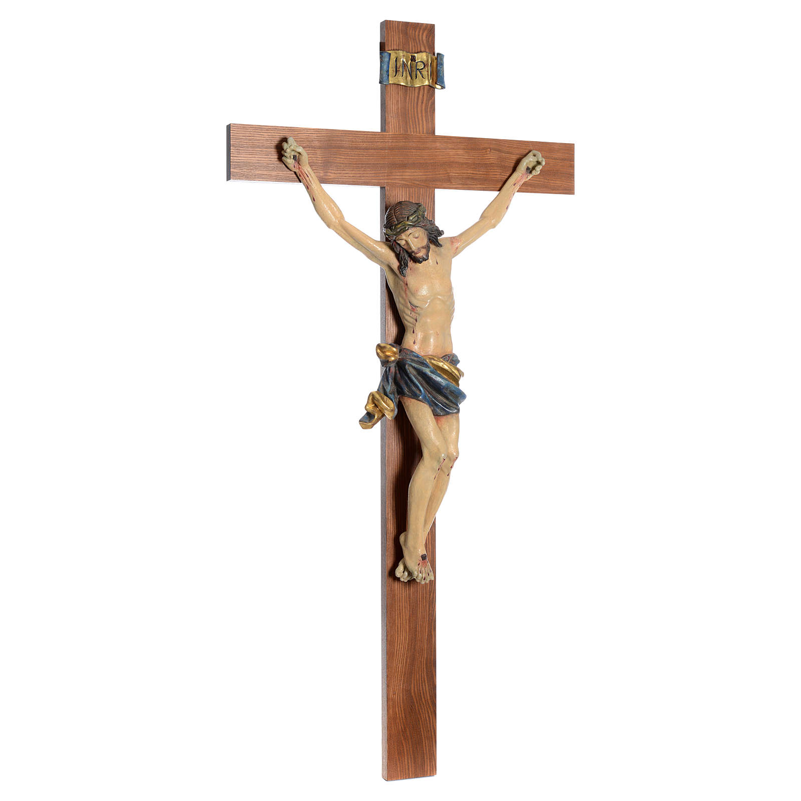 Crucifix, straight, Corpus model in antique gold Valgardena wood 4