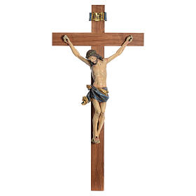Crucifix, straight, Corpus model in antique gold Valgardena wood s1