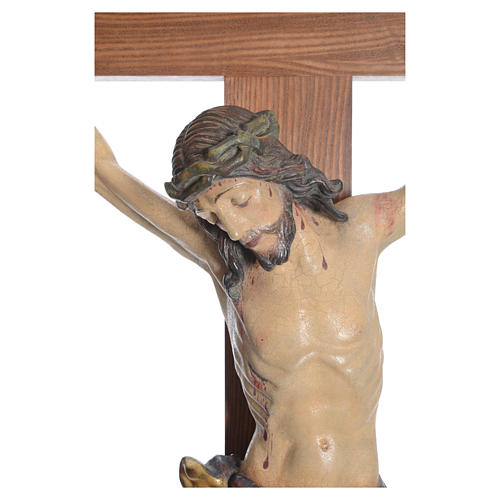Crucifix, straight, Corpus model in antique gold Valgardena wood 5