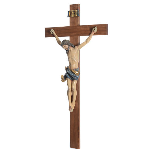 Crucifix, straight, Corpus model in antique gold Valgardena wood 8