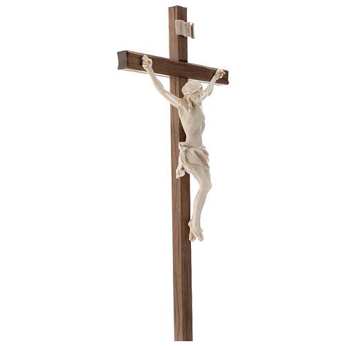Crucifix, straight, Corpus model in natural wax Valgardena wood 4