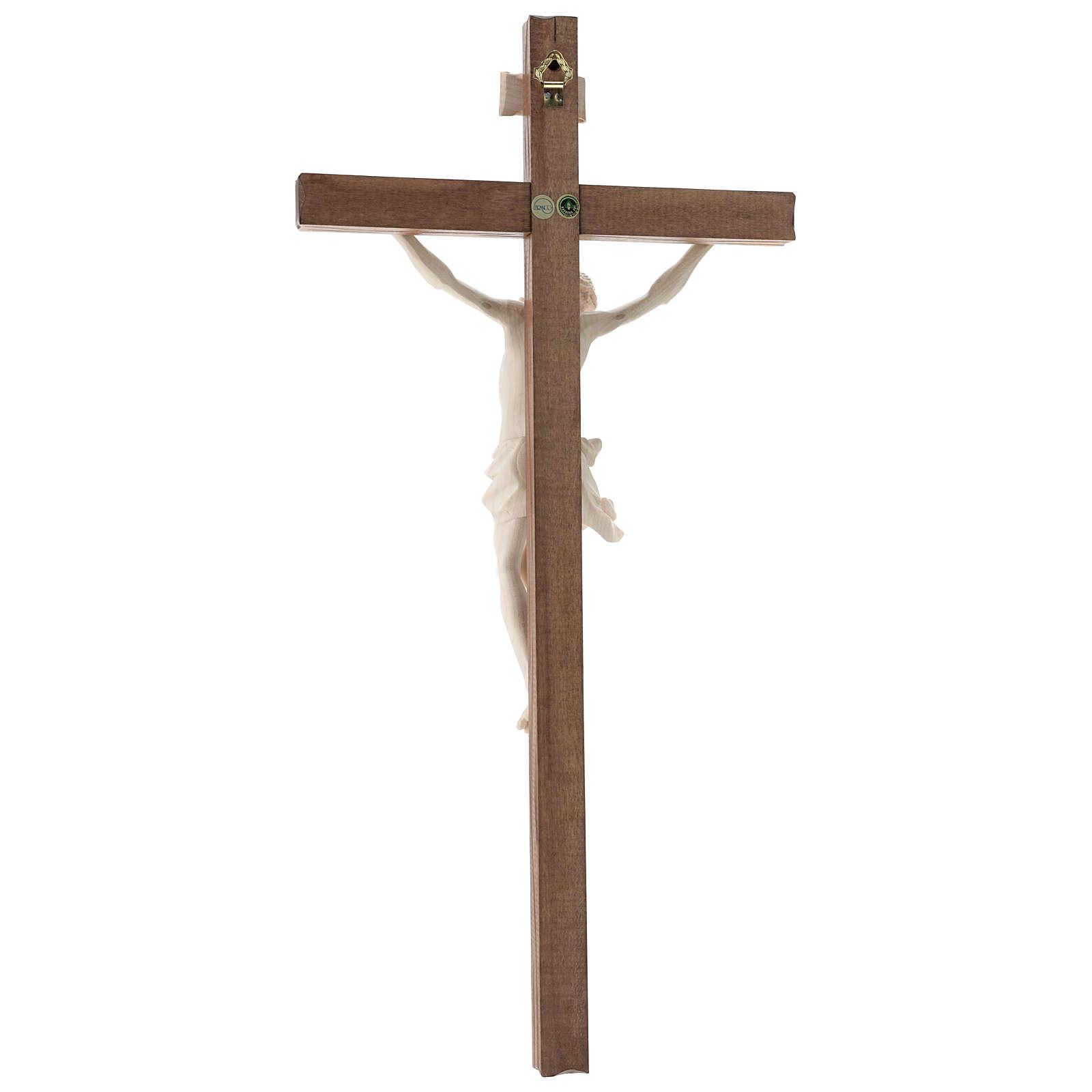 Crucifijo, cruz recta madera Valgardena encerada, modelo Corpus 4