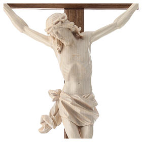 Crucifijo, cruz recta madera Valgardena encerada, modelo Corpus s2