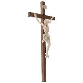 Crucifijo, cruz recta madera Valgardena encerada, modelo Corpus s4