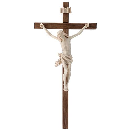 Crucifijo, cruz recta madera Valgardena encerada, modelo Corpus 1