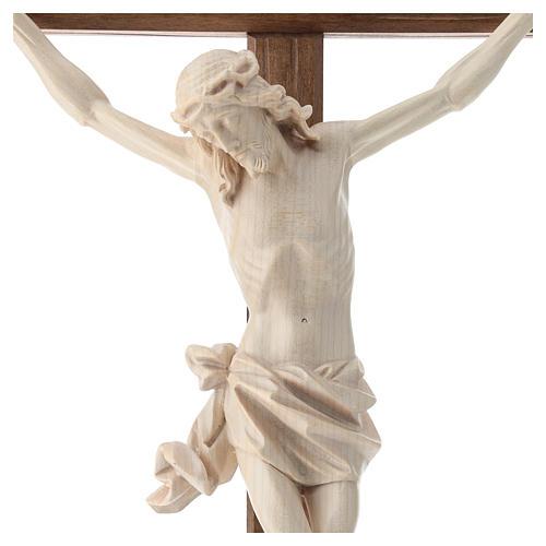 Crucifijo, cruz recta madera Valgardena encerada, modelo Corpus 2