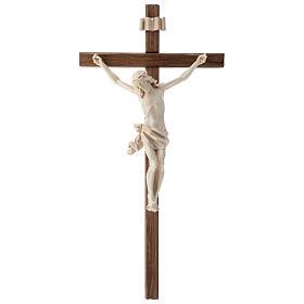 Crucifix mod. Corpus droit bois naturel ciré Valgardena s1