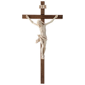 Crucifix, straight, Corpus model in natural wax Valgardena wood s1