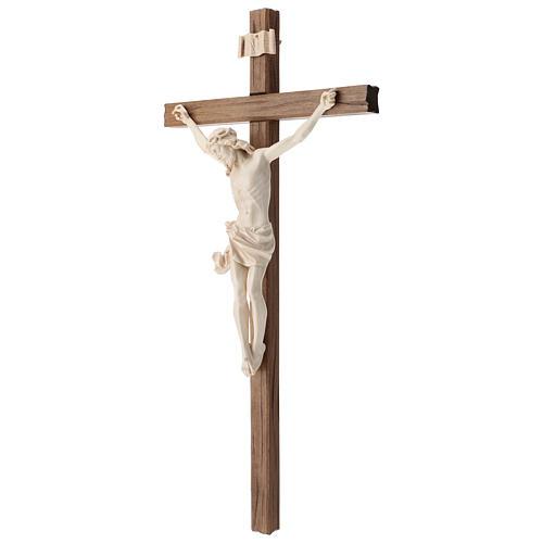 Crucifix, straight, Corpus model in natural wax Valgardena wood 3