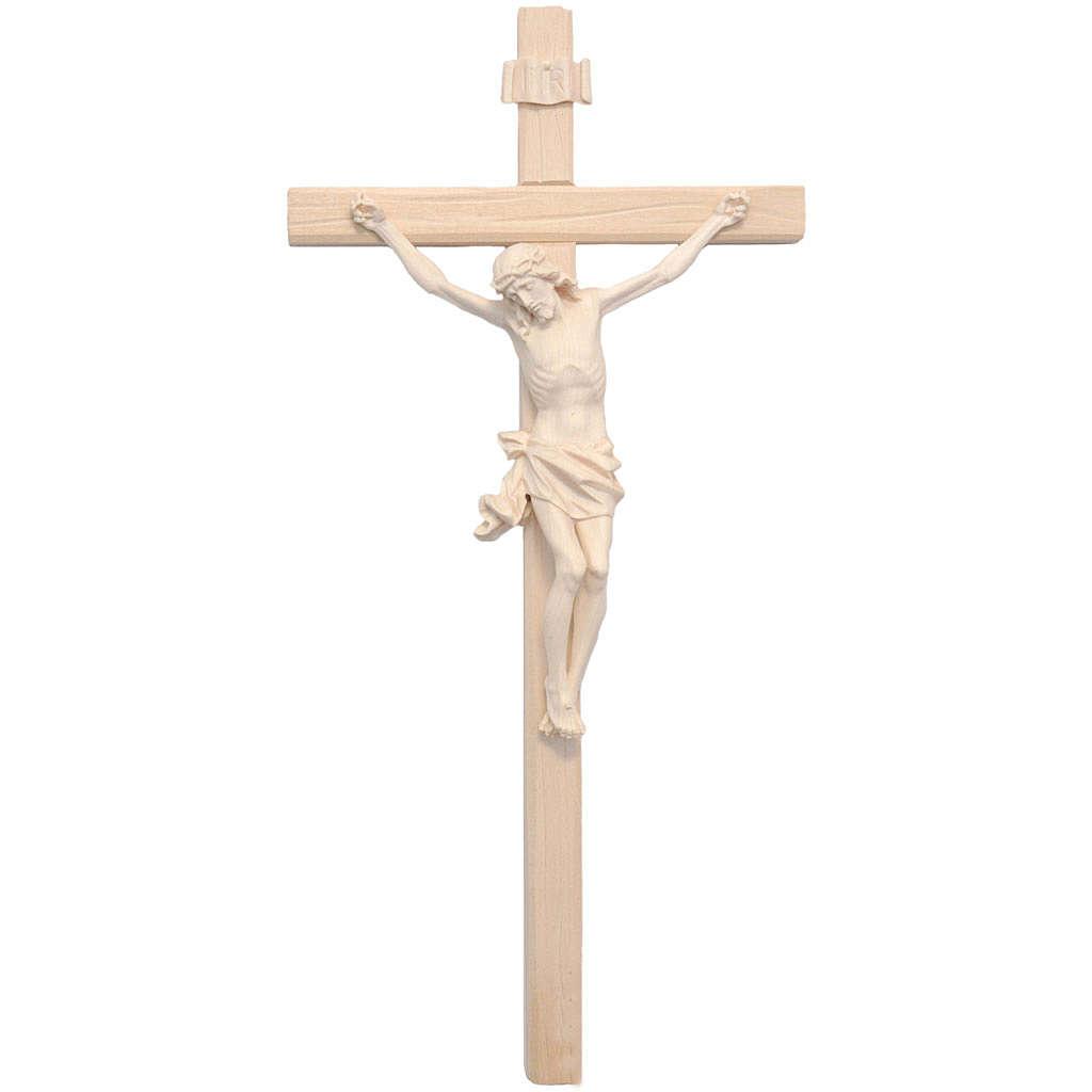 Crucifijo modelo Corpus, madera Valgardena natural cruz recta 4