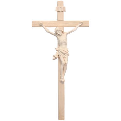 Crucifijo modelo Corpus, madera Valgardena natural cruz recta 1