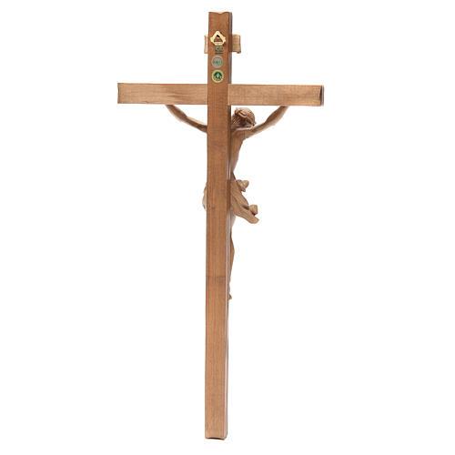 Crucifijo modelo Corpus, madera Valgardena patinada, cruz recta 2