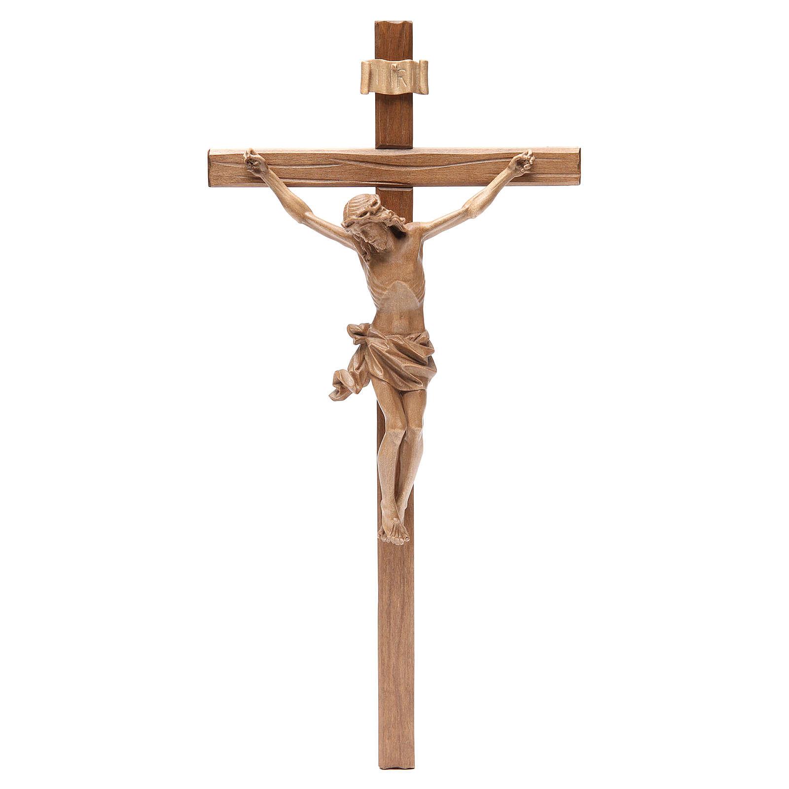 Crucifix, straight, Corpus model in patinated Valgardena wood 4