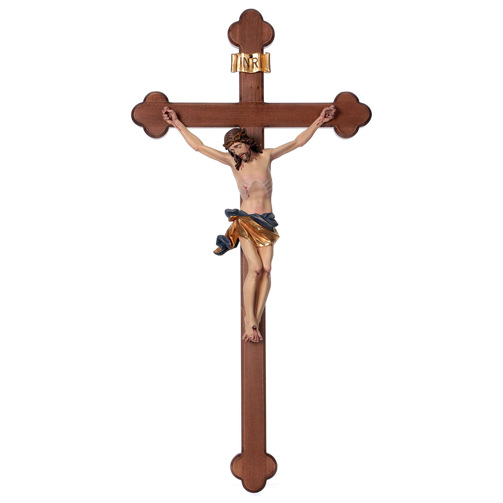 Crucifix, trefoil, Corpus model in painted Valgardena wood 4