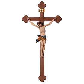 Crucifix, trefoil, Corpus model in painted Valgardena wood s1