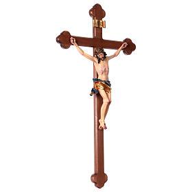 Crucifix, trefoil, Corpus model in painted Valgardena wood s4