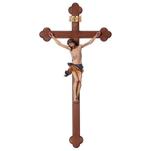 Crucifix, trefoil, Corpus model in painted Valgardena wood 1