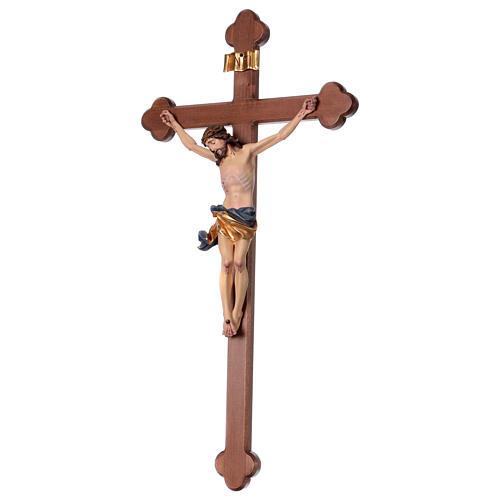 Crucifix, trefoil, Corpus model in painted Valgardena wood 3