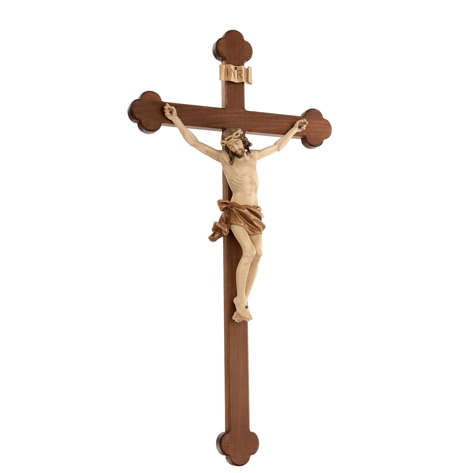Crucifix, trefoil, Corpus model in multi-patinated Valgardena wo 4
