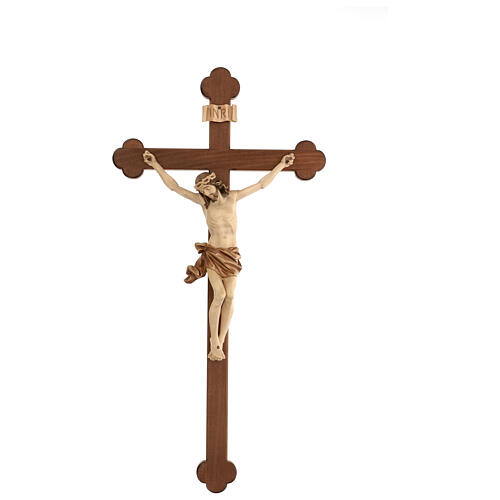 Crucifix, trefoil, Corpus model in multi-patinated Valgardena wo 1