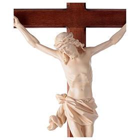 Crucifix, trefoil, Corpus model in natural wax Valgardena wood s2