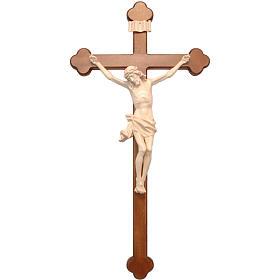 Crucifix trilobé mod. Corpus bois naturel ciré Valgardena s1