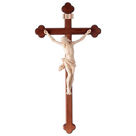 Crucifix, trefoil, Corpus model in natural wax Valgardena wood s1