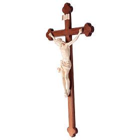 Crucifix, trefoil, Corpus model in natural wax Valgardena wood s3