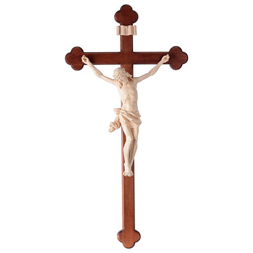 Crucifix, trefoil, Corpus model in natural wax Valgardena wood 1