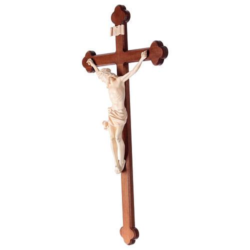 Crucifix, trefoil, Corpus model in natural wax Valgardena wood 3