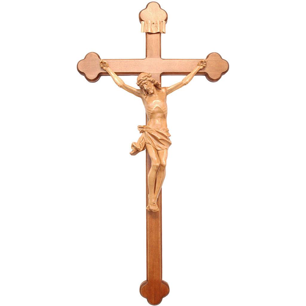 Crucifix, trefoil, Corpus model in patinated Valgardena wood 4