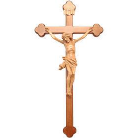 Crucifix, trefoil, Corpus model in patinated Valgardena wood s1