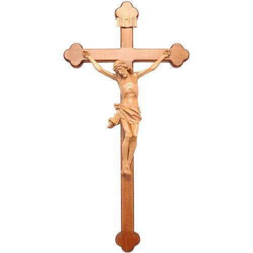 Crucifix, trefoil, Corpus model in patinated Valgardena wood 1