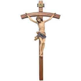 Crucifix, curved, Corpus model in antique gold Valgardena wood s1